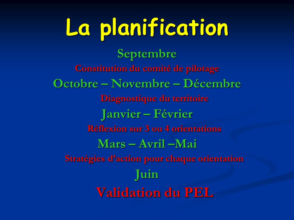 La planification Validation du PEL Septembre