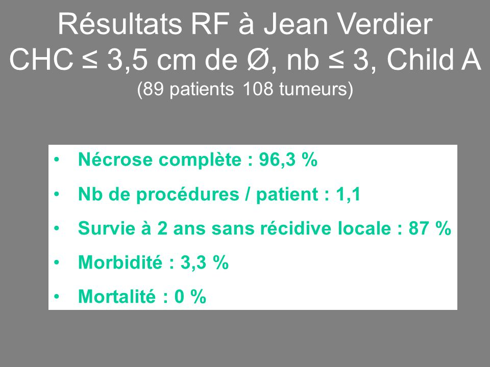 Résultats RF à Jean Verdier CHC ≤ 3,5 cm de Ø, nb ≤ 3, Child A (89 patients 108 tumeurs)