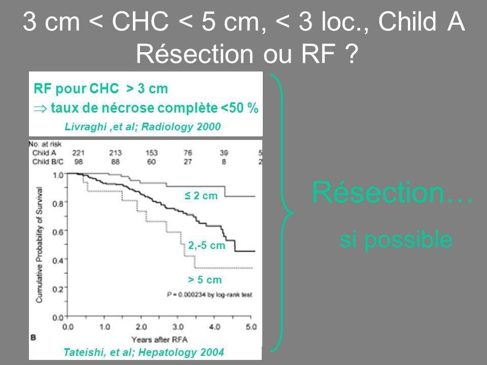 3 cm < CHC < 5 cm, < 3 loc., Child A Résection ou RF