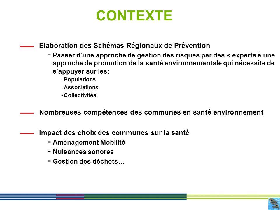 CONTEXTE Elaboration des Schémas Régionaux de Prévention