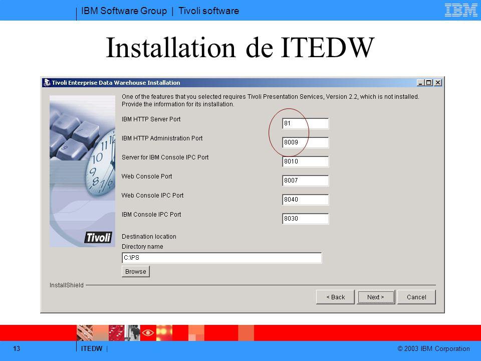 Installation de ITEDW Changer 80 en autre et 8008 en autre (si WAS et IBM console sur la même machine)