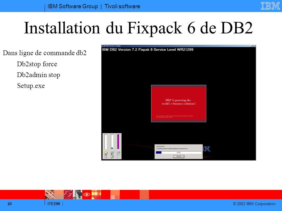 Installation du Fixpack 6 de DB2