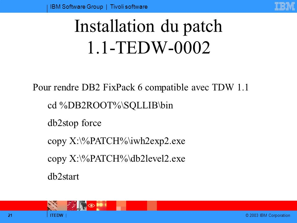 Installation du patch 1.1-TEDW-0002