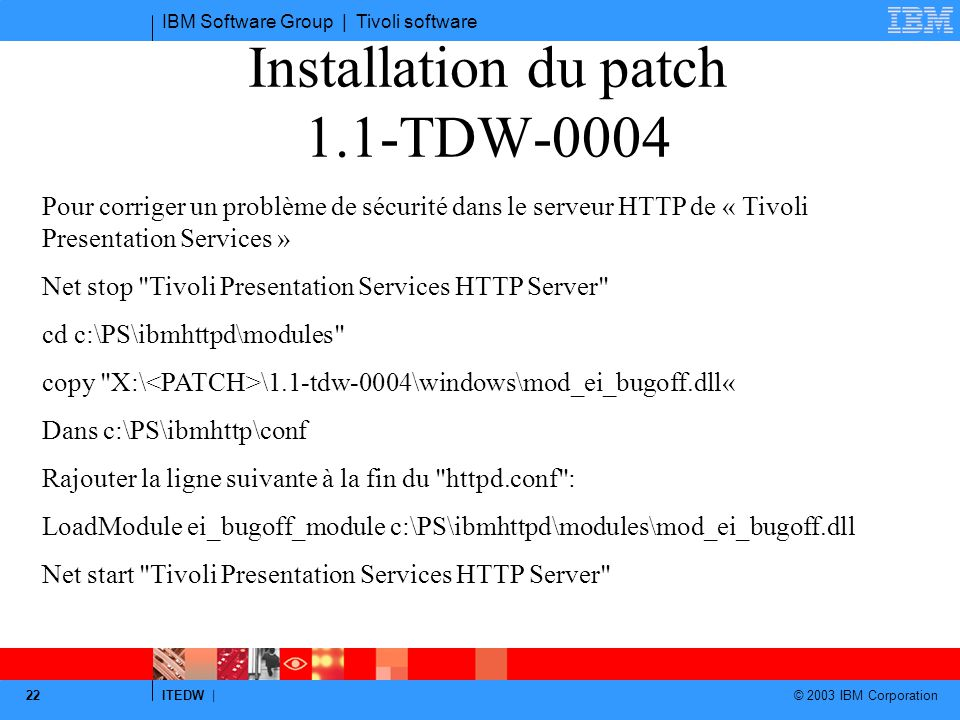 Installation du patch 1.1-TDW-0004