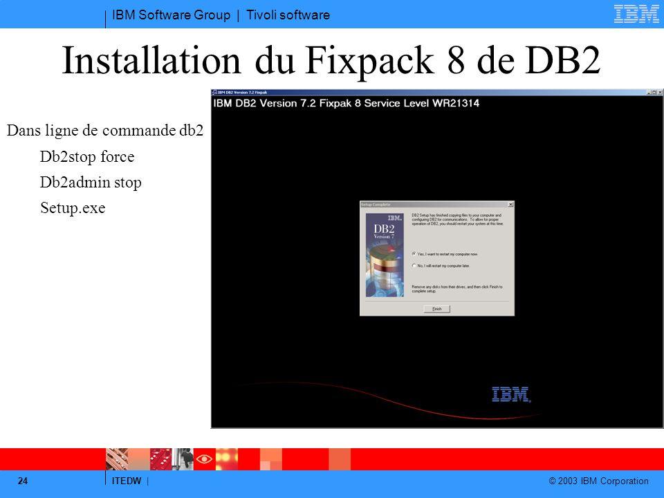 Installation du Fixpack 8 de DB2