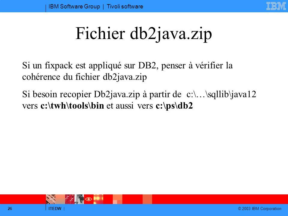 Fichier db2java.zip Si un fixpack est appliqué sur DB2, penser à vérifier la cohérence du fichier db2java.zip.