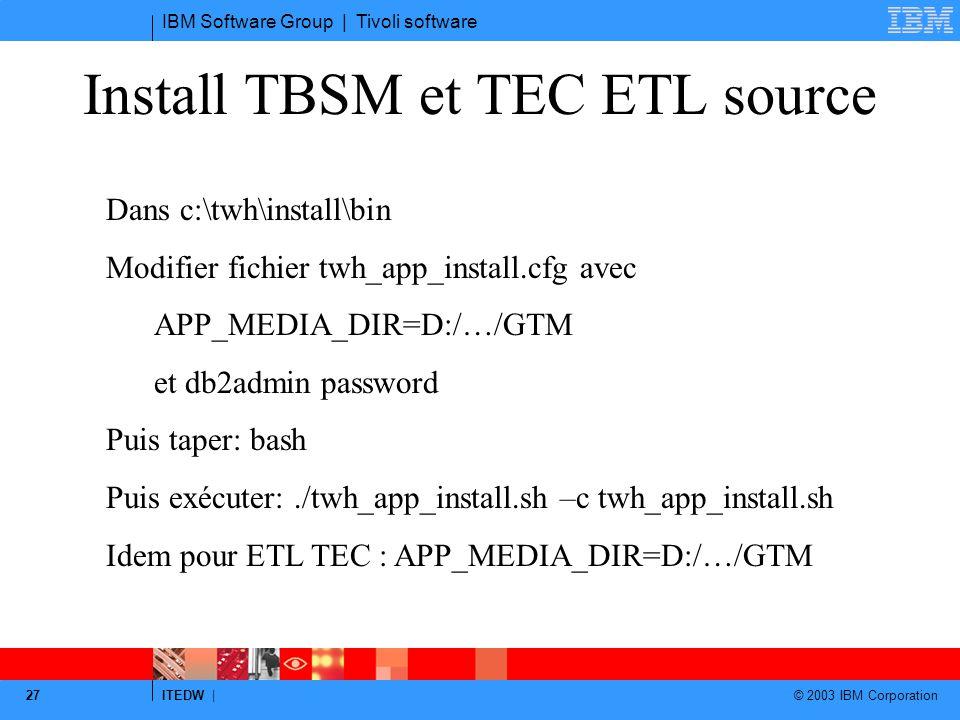 Install TBSM et TEC ETL source