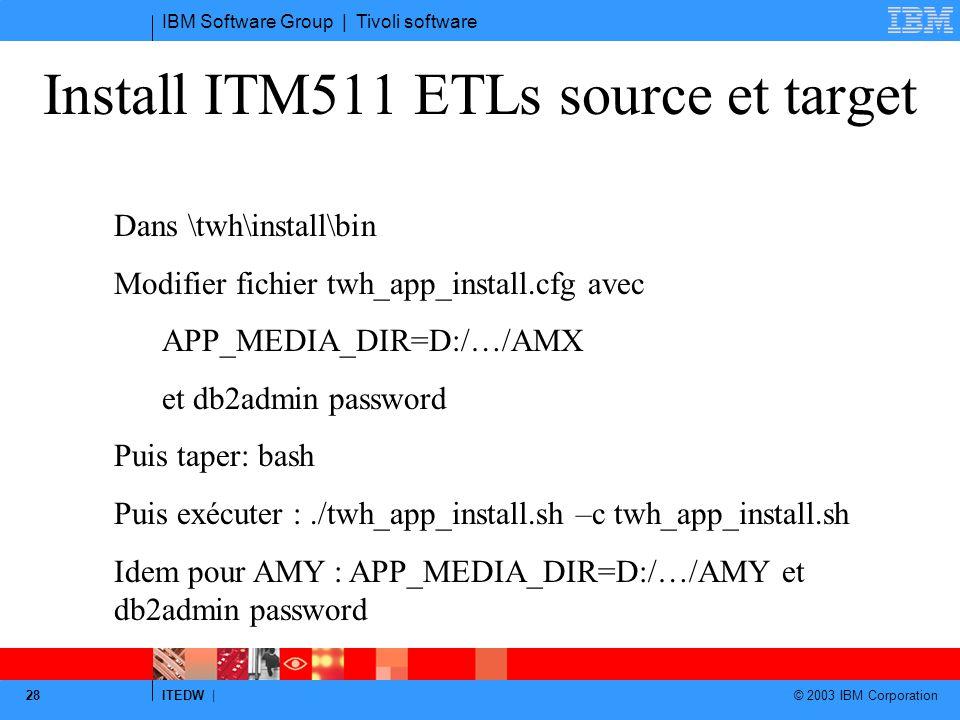 Install ITM511 ETLs source et target