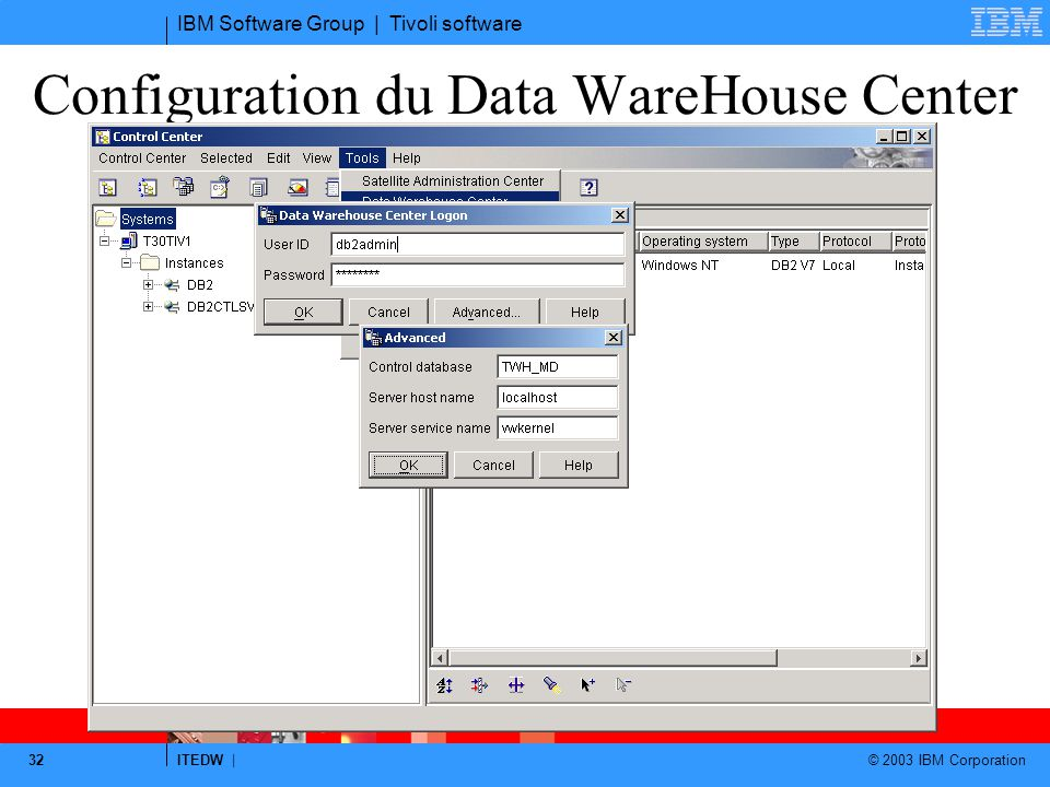 Configuration du Data WareHouse Center