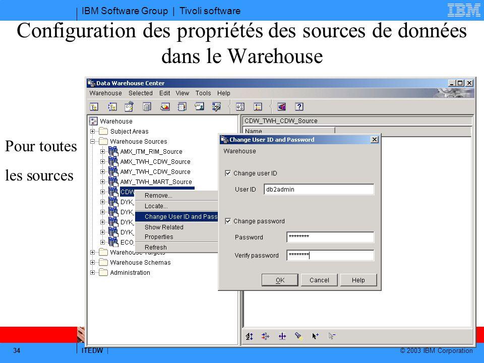 Configuration des propriétés des sources de données dans le Warehouse
