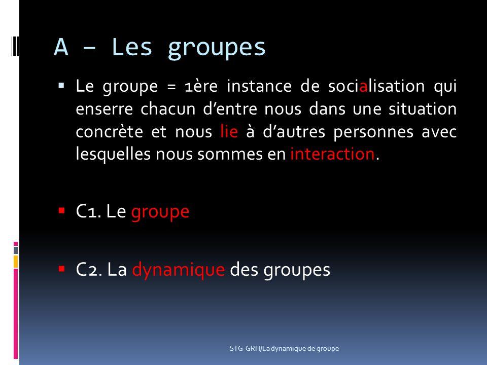 A – Les groupes C1. Le groupe C2. La dynamique des groupes