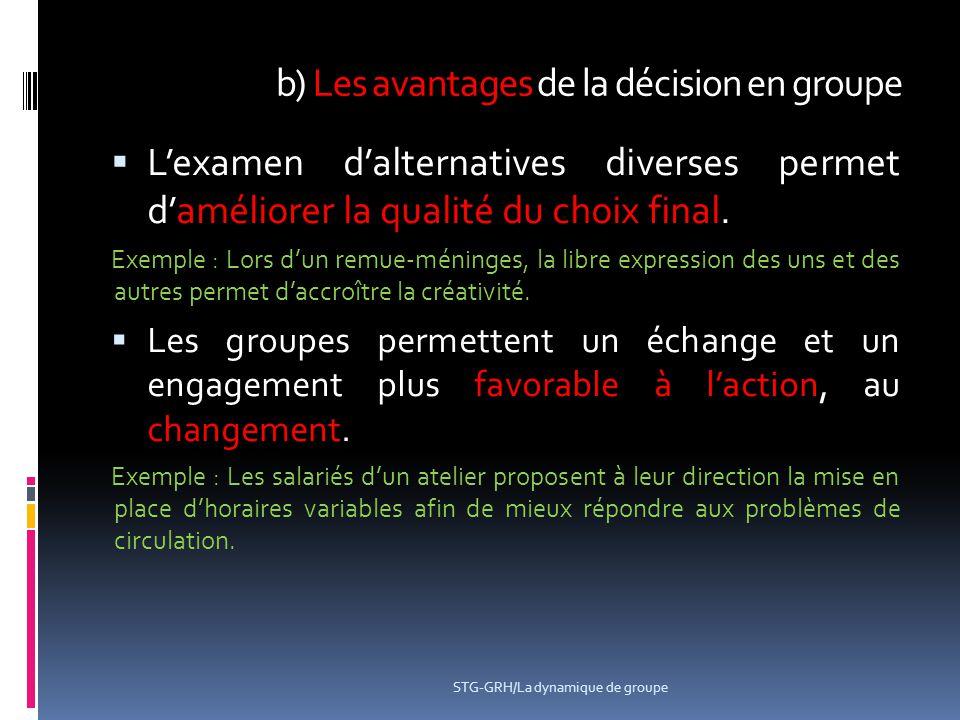 b) Les avantages de la décision en groupe