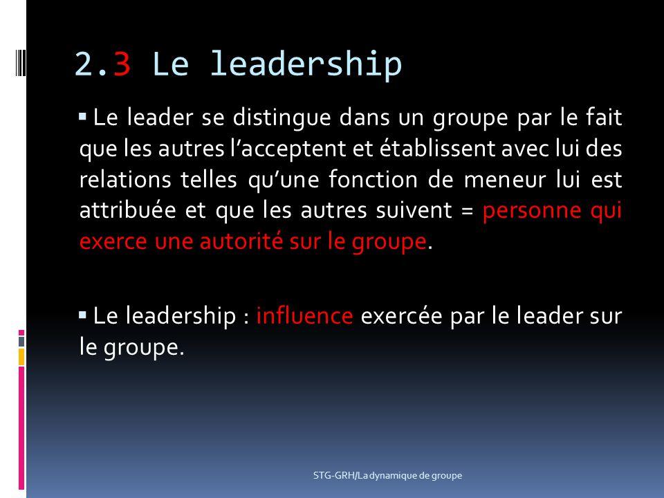 2.3 Le leadership