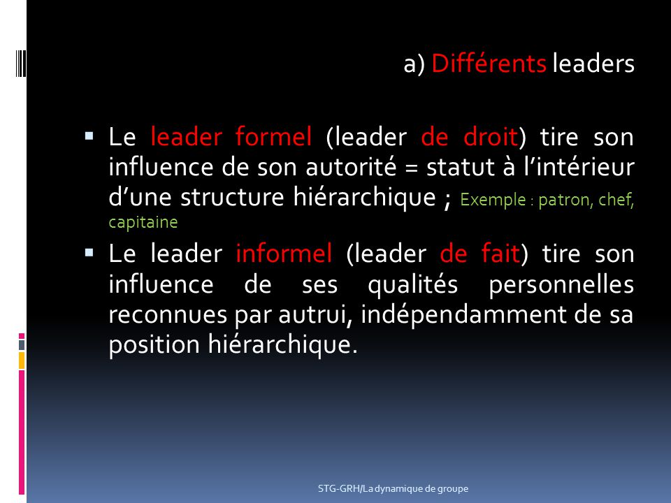 a) Différents leaders