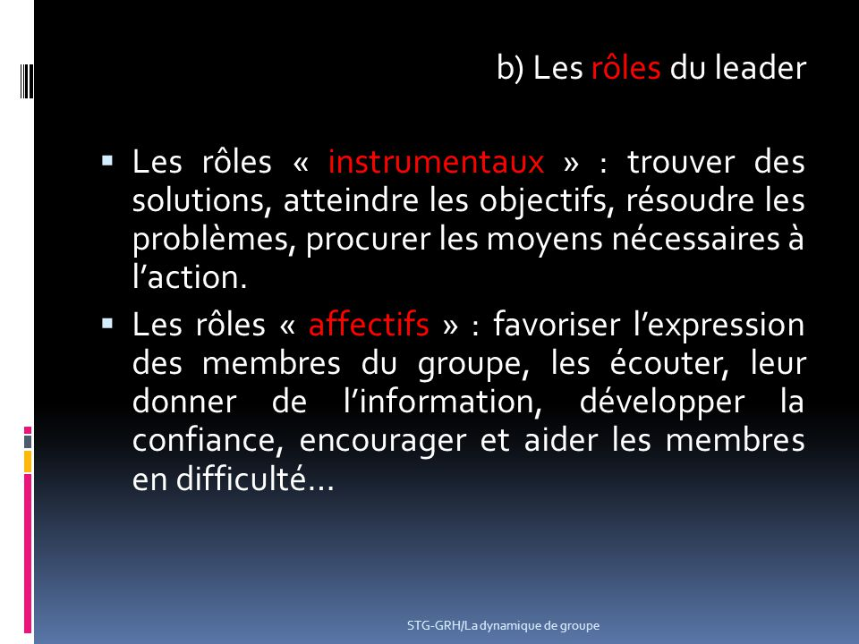 b) Les rôles du leader