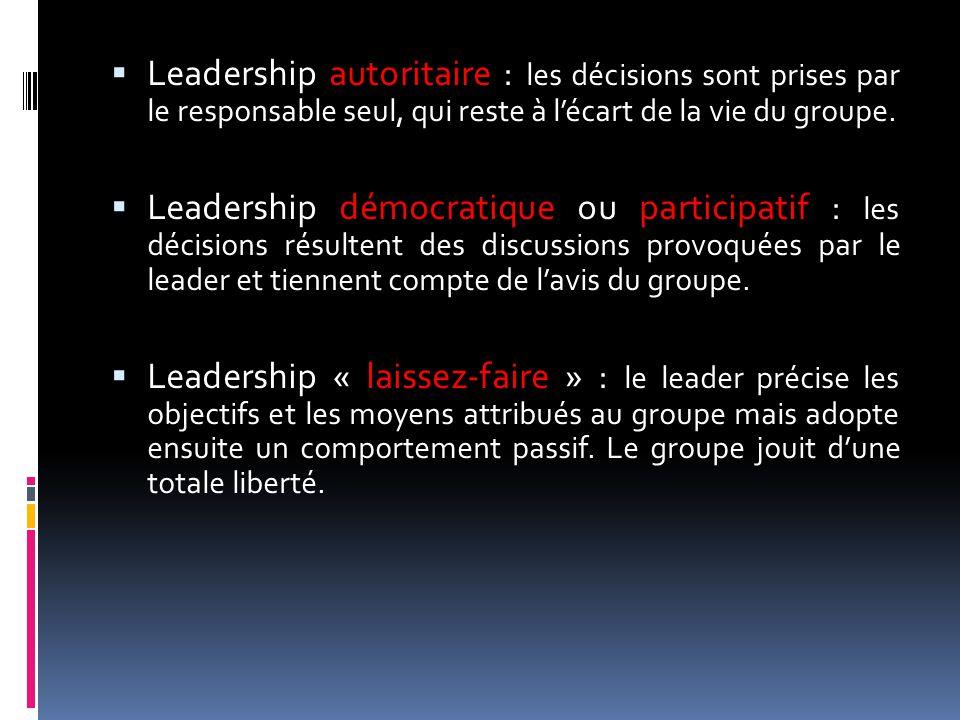 Leadership autoritaire : les décisions sont prises par le responsable seul, qui reste à l'écart de la vie du groupe.