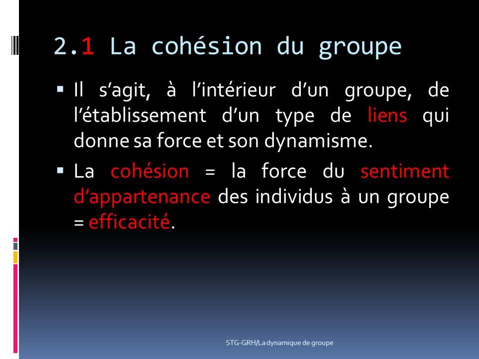 2.1 La cohésion du groupe Il s'agit, à l'intérieur d'un groupe, de l'établissement d'un type de liens qui donne sa force et son dynamisme.