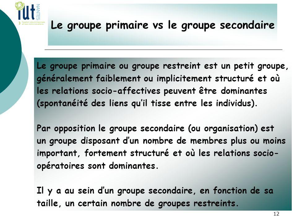 Le groupe primaire vs le groupe secondaire