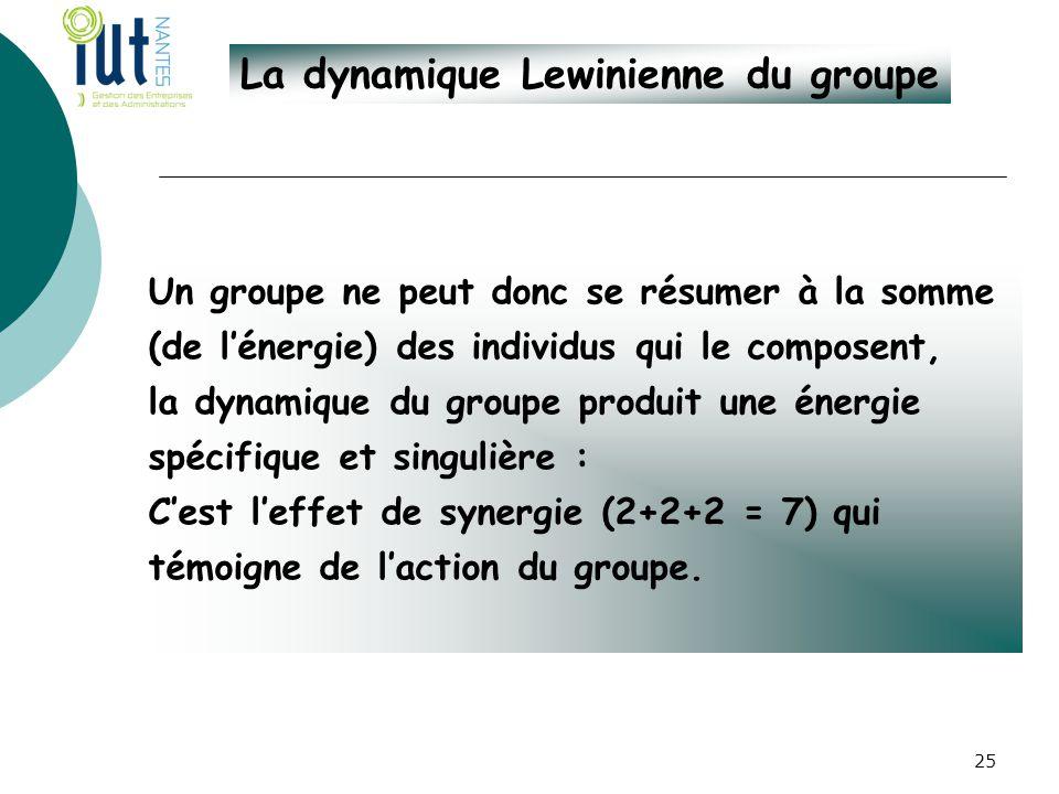 La dynamique Lewinienne du groupe