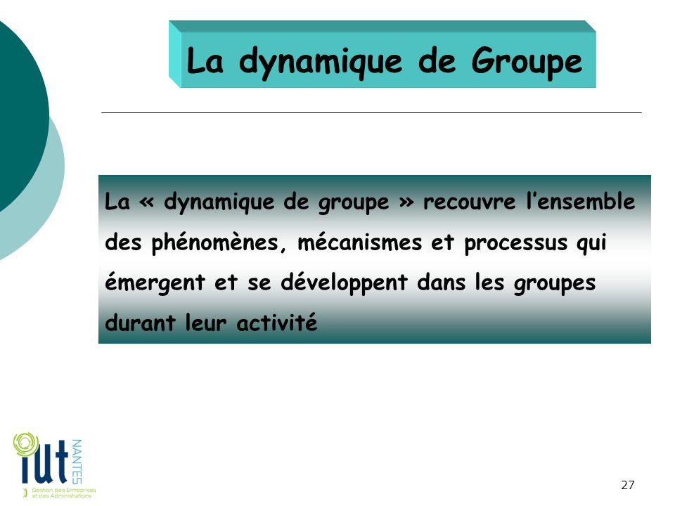 La dynamique de Groupe La « dynamique de groupe » recouvre l'ensemble