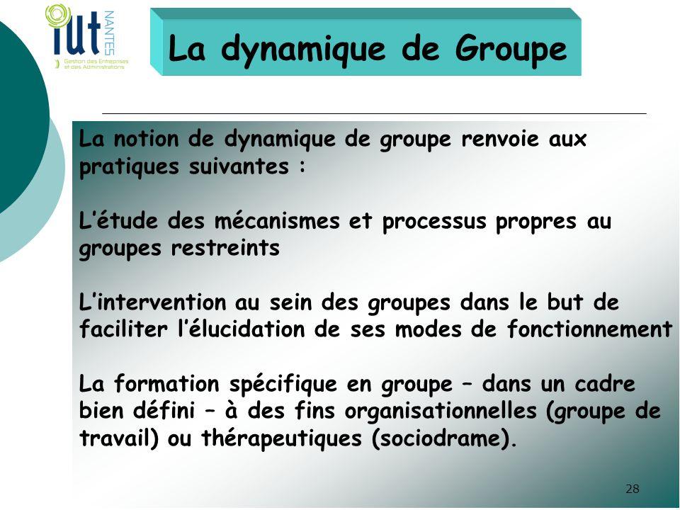 La dynamique de Groupe La notion de dynamique de groupe renvoie aux