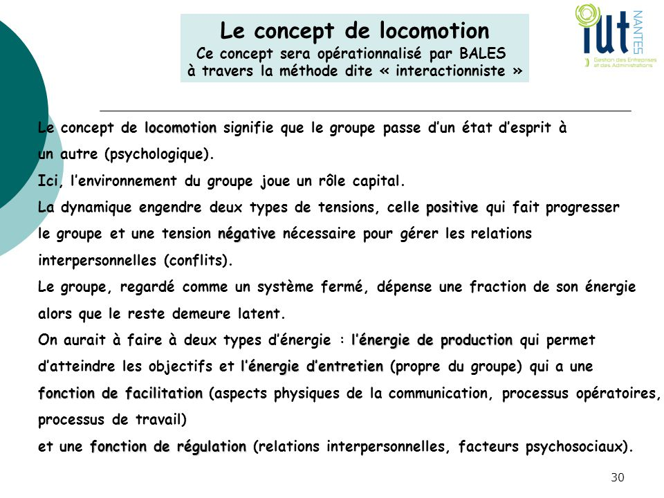 Le concept de locomotion