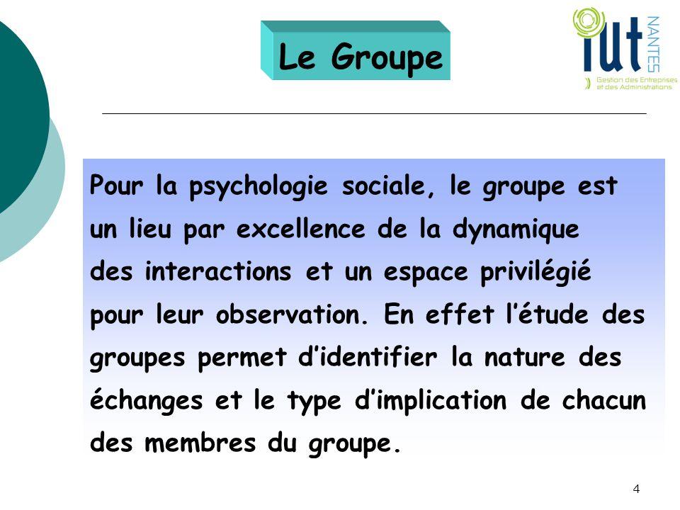 Le Groupe Pour la psychologie sociale, le groupe est