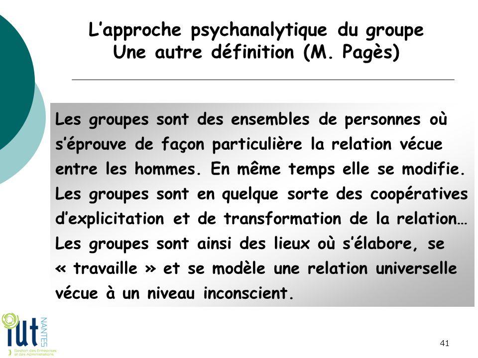 L'approche psychanalytique du groupe Une autre définition (M. Pagès)