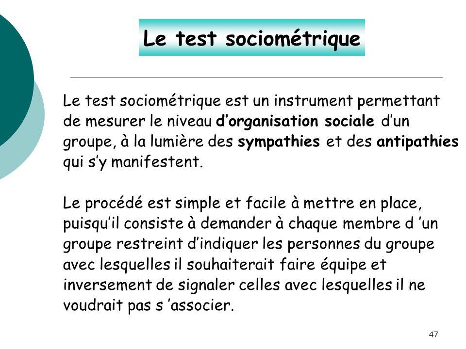 Le test sociométrique Le test sociométrique est un instrument permettant. de mesurer le niveau d'organisation sociale d'un.