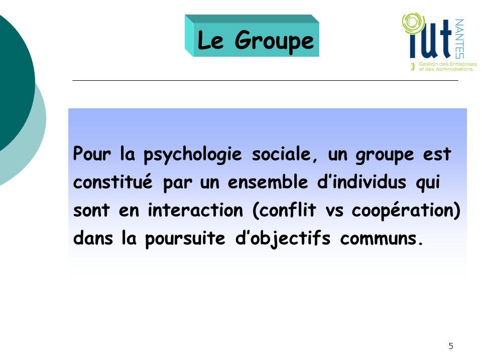 Le Groupe Pour la psychologie sociale, un groupe est