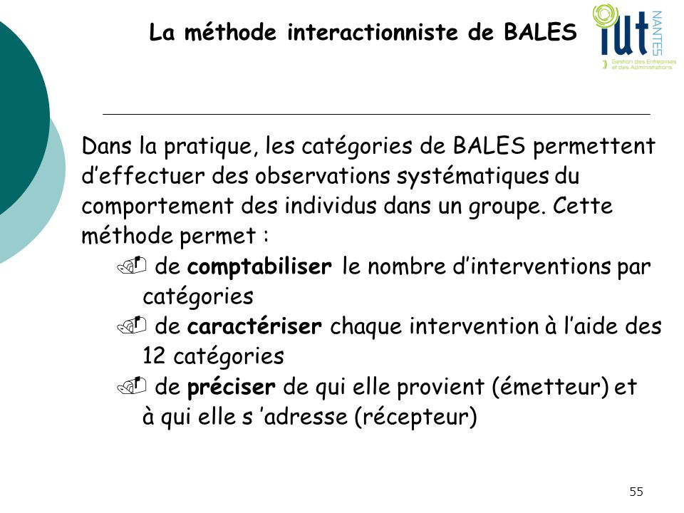 La méthode interactionniste de BALES