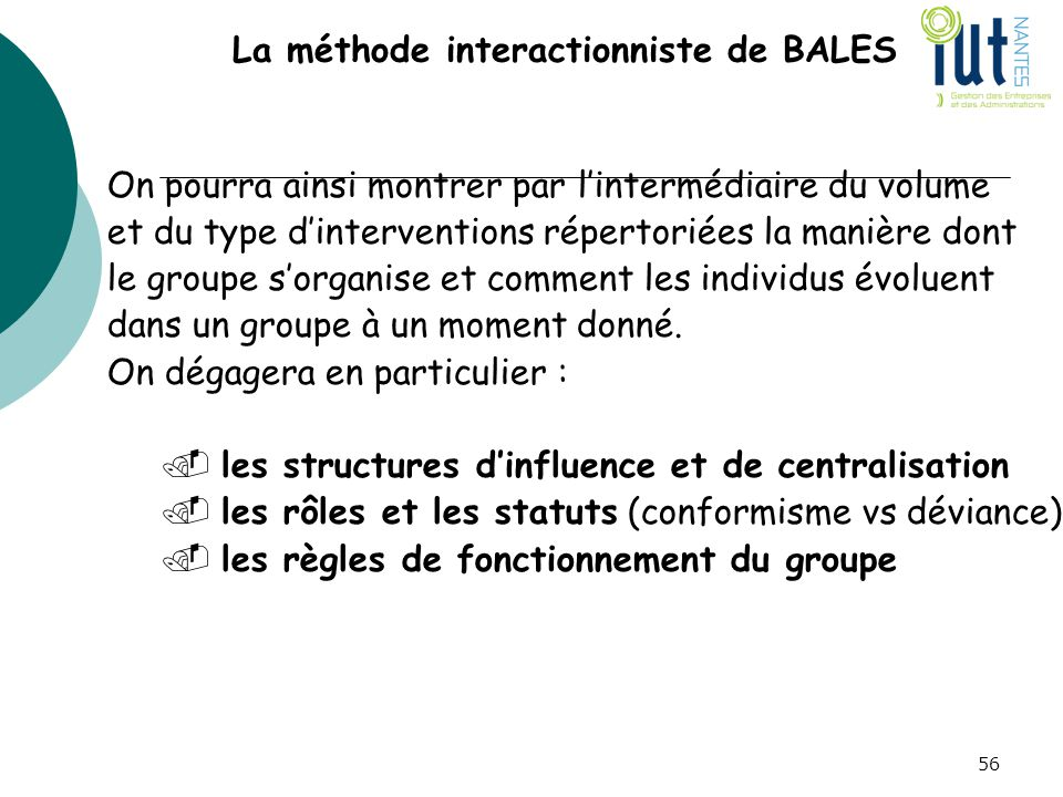 La méthode interactionniste de BALES