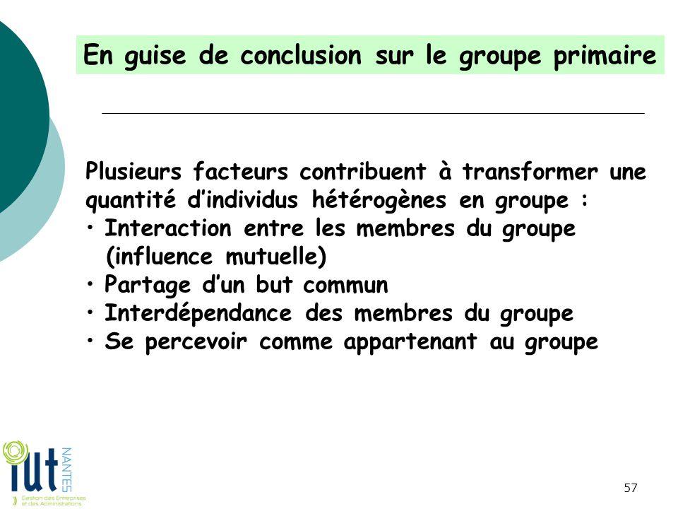 En guise de conclusion sur le groupe primaire