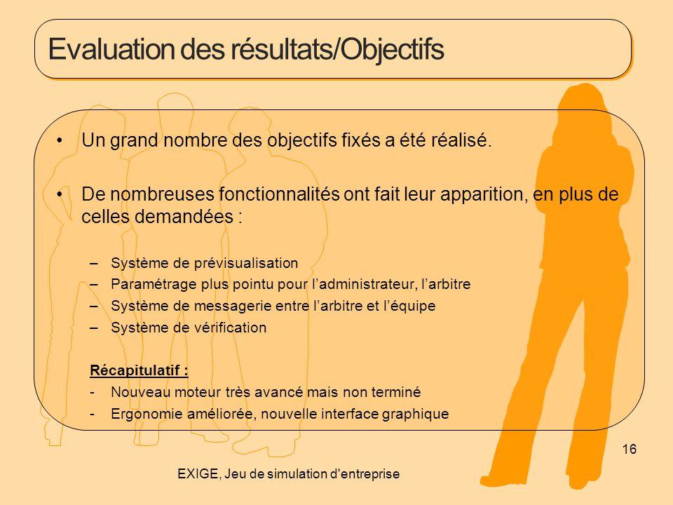 Evaluation des résultats/Objectifs