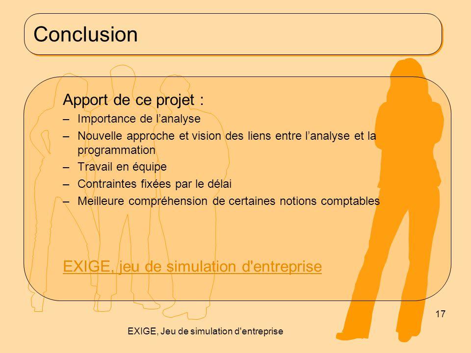 EXIGE, Jeu de simulation d entreprise