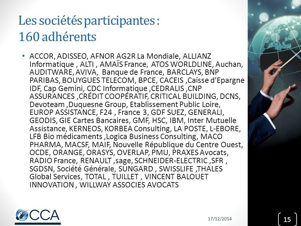 Les sociétés participantes : 160 adhérents