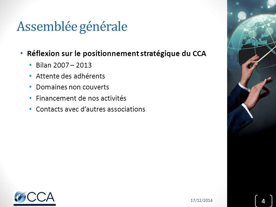 Assemblée générale Réflexion sur le positionnement stratégique du CCA