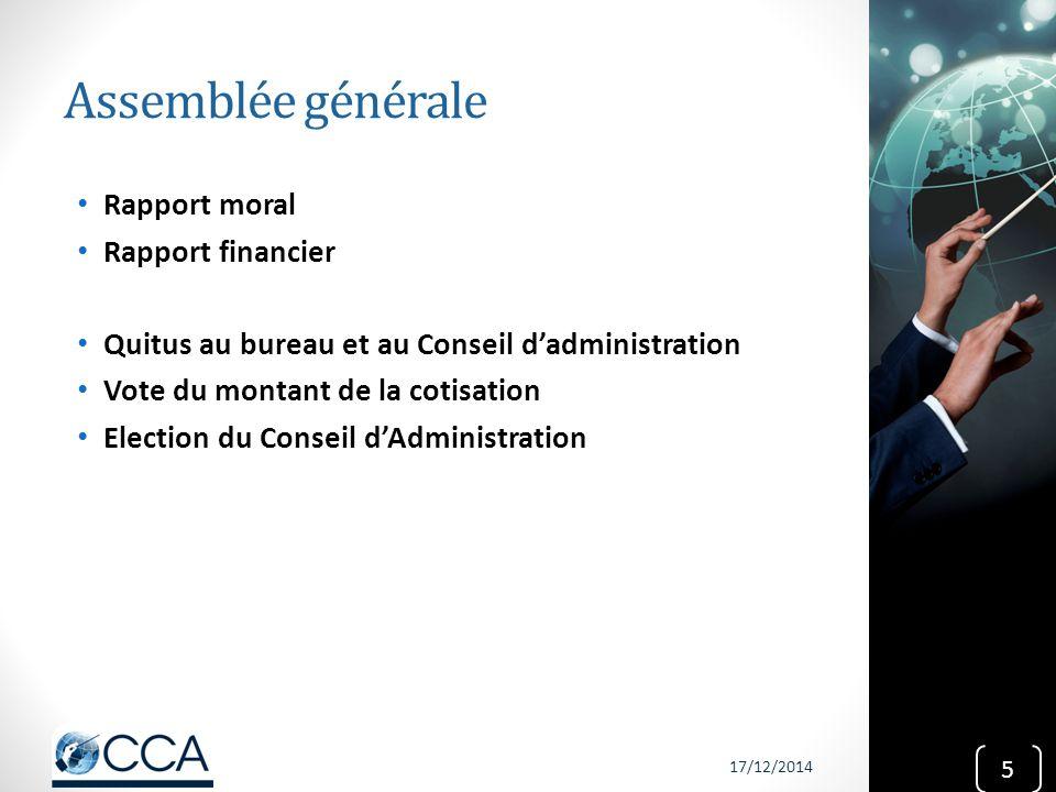Assemblée générale Rapport moral Rapport financier