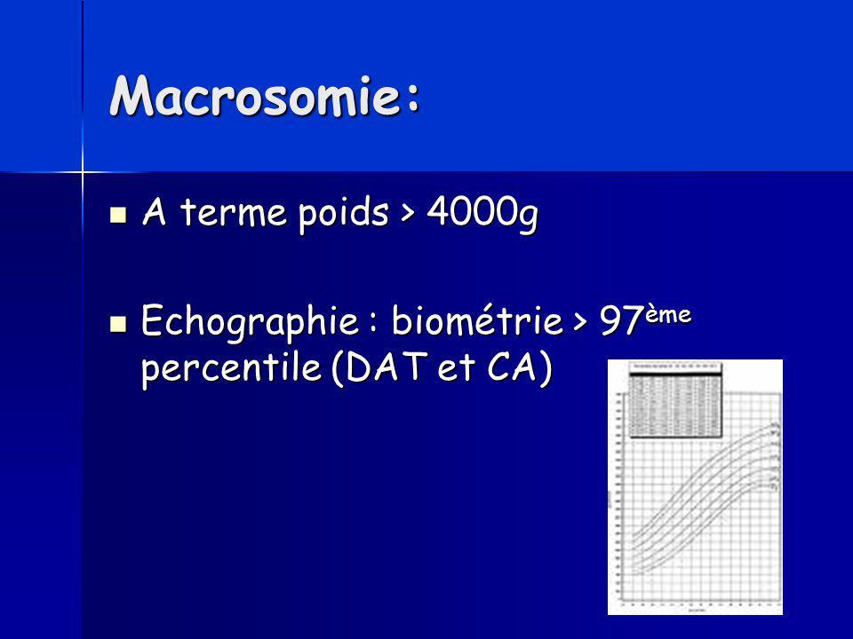 Macrosomie: A terme poids > 4000g