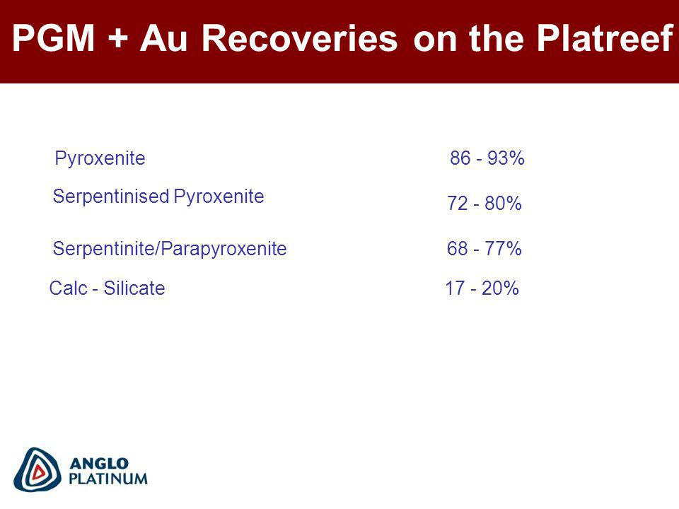 PGM + Au Recoveries on the Platreef