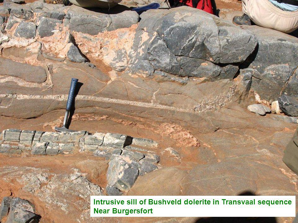 Intrusive sill of Bushveld dolerite in Transvaal sequence