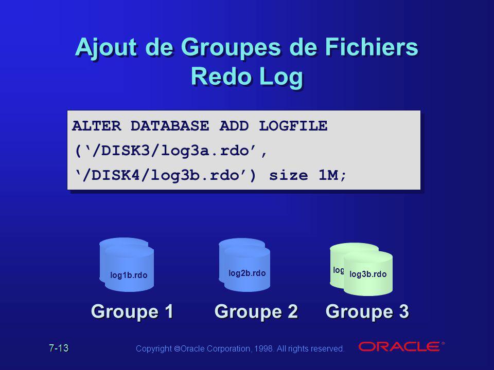 Ajout de Groupes de Fichiers Redo Log