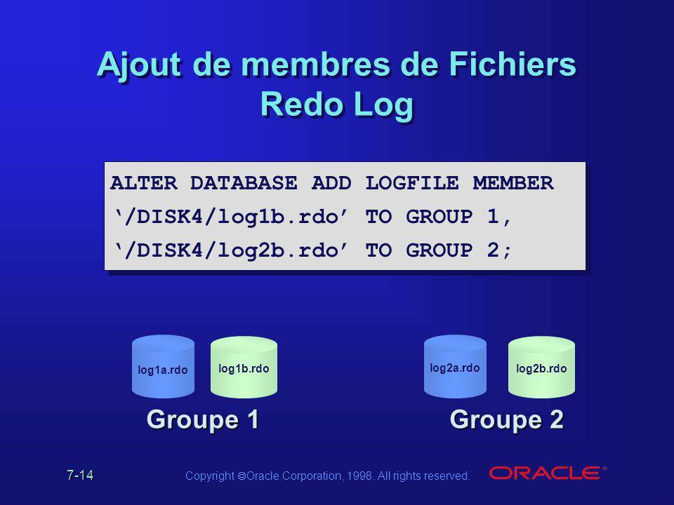 Ajout de membres de Fichiers Redo Log