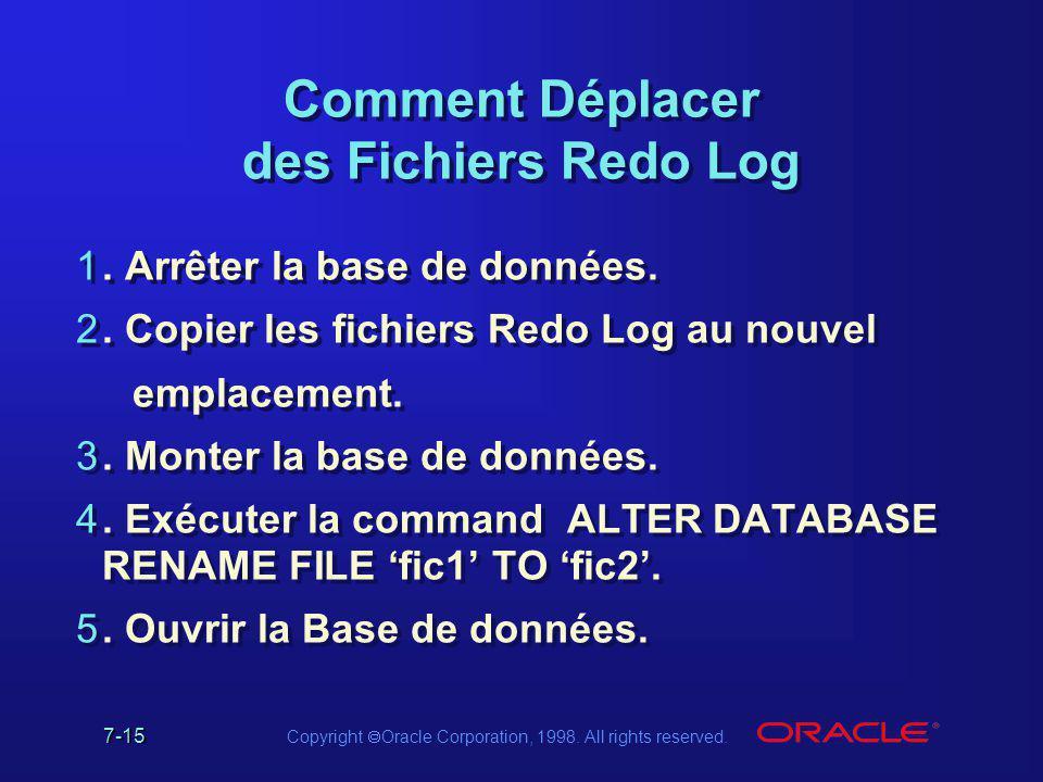 Comment Déplacer des Fichiers Redo Log