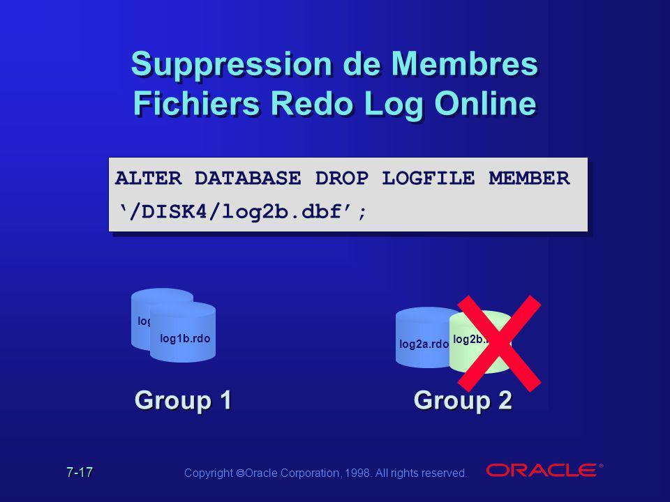 Suppression de Membres Fichiers Redo Log Online