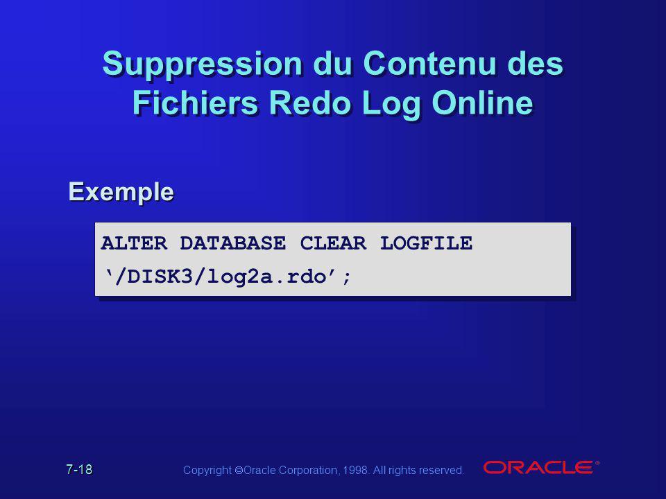 Suppression du Contenu des Fichiers Redo Log Online