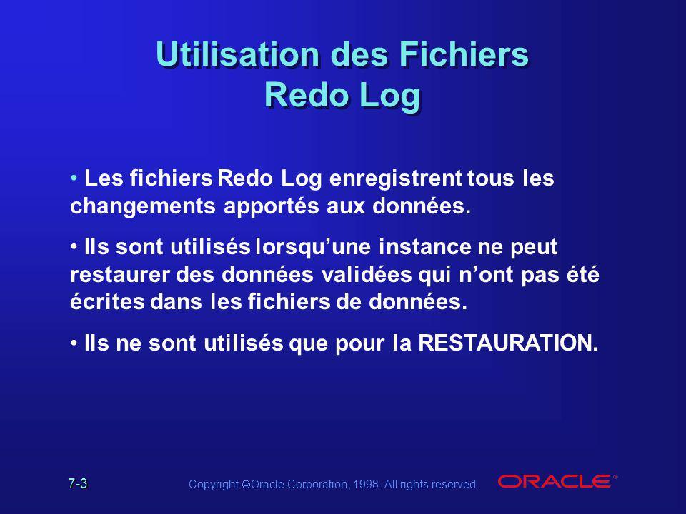 Utilisation des Fichiers Redo Log