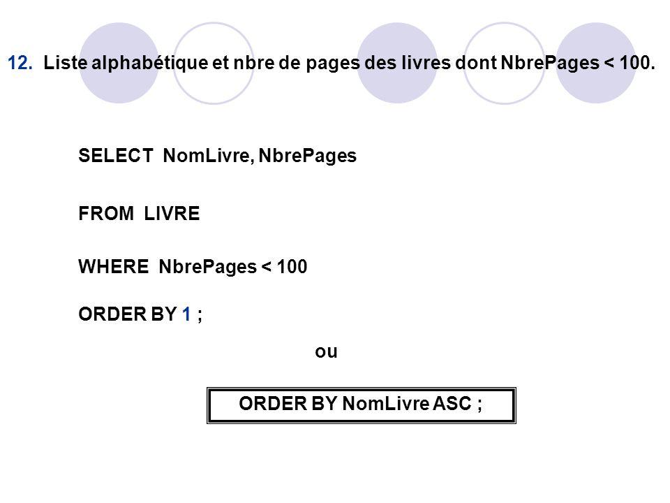 12. Liste alphabétique et nbre de pages des livres dont NbrePages < 100.