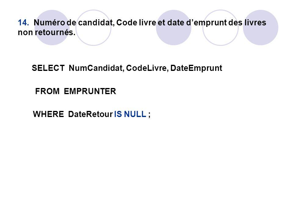 14. Numéro de candidat, Code livre et date d'emprunt des livres non retournés.