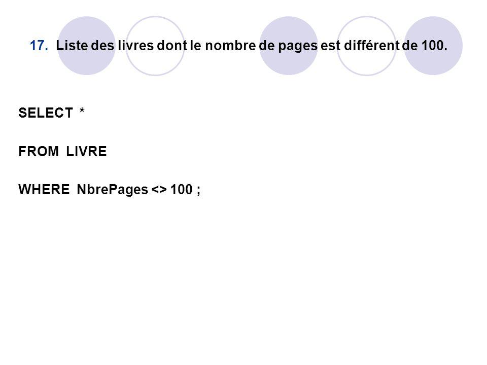 17. Liste des livres dont le nombre de pages est différent de 100.